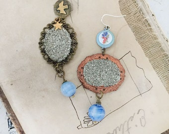 dash~upcycled glitter glass cabochon earrings, assemblage earrings, czech beads, vintage steampunk patina, prim, homespun, altered jewelry