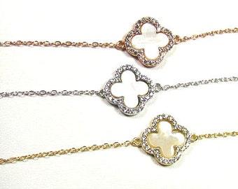 CZ Clover and Mother of Pearl Bracelet-- Sterling Silver, Gold Vermeil or Rose Gold Vermeil