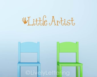 Little Artist wall decal, artwork display decal, art display, artist decal, kids wall decals, playroom wall decals, vinyl lettering PC4210