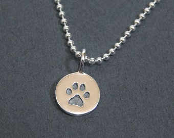 Tiny Paw Print Charm Necklace Sterling Silver Beaded Chain Pendant Necklace