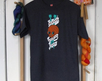 Bury Me With My Yarn Unisex T-Shirt Sizes: Small through 3X - Awesome Gift for Knitters, Weavers, Crocheters, and Spinners