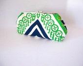 Trina Turk fabric, blue green clutch, geometric clutch. modern clutch, mod clutch, palm springs style, resort bag