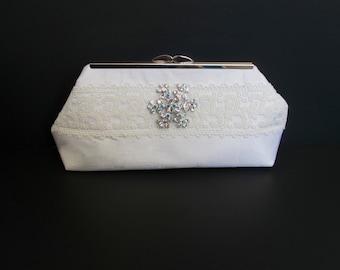 SALE Bride clutch, ivory clutch, silk clutch, white clutch, wedding clutch,  lace ribbon, rhinestone pin, family heirloom, one of a kind