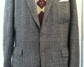 1950s Smith's Country Club Grey-Beige Rockabilly Atomic Fleck Patch Pocket Jacket XL