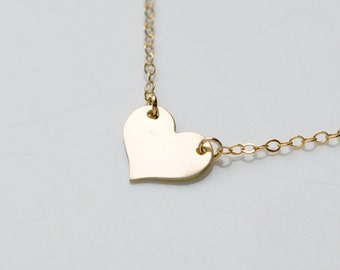 Gold heart necklace, gold heart pendant, personalized heart, initial necklace, sexy, dainty, simple, littleglamour gift for her - Pazia