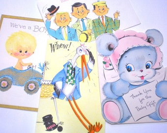 Vintage BABY CARDS - Four 1950s and 60s Baby Cards or Gift Cards