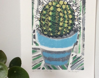 Grusonii Cactus Original Lino and Mono Print
