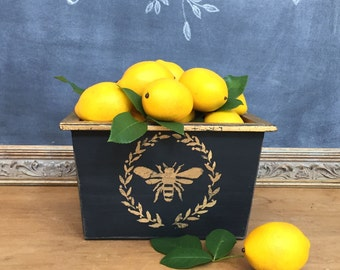 French Wood Planter Box with Gold Leaf Bee and Laurel Wreath French Country Home Decor