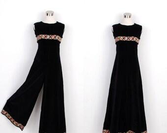 Vintage 1960s Jumpsuit / 60s Velvet Wide Leg Jumpsuit with Geometric Trim / Black (medium M)