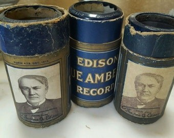 3 Edison Blue Amberol Cylinder Records ALOHA OE I lost My Heart Honolulu Hawaii