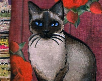 Siamese Cat Original Mixed Media ACEO with paper beads