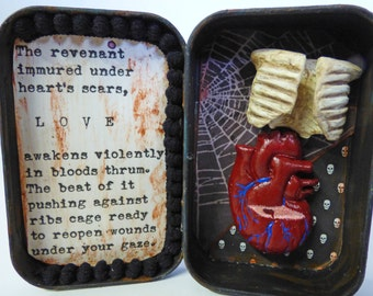 Dark Love Altoid Tin Shrine - Gothic Love Shrine - Anatomical Heart Shadow Box - Love Poem
