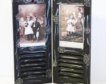 Halloween Picture Frame - Wood Shutter Frame - Gothic Home Decor - Ghost Children Art - Gothic Frame