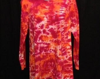 Women's Asymetrical Tunic in Fuchsia and Orange