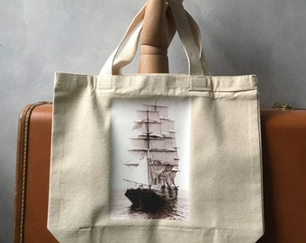 The Panay in the Boston Harbor - Natural Canvas Bag - Essentials Tote - Handbag - Tall Ships - On the Go Bag