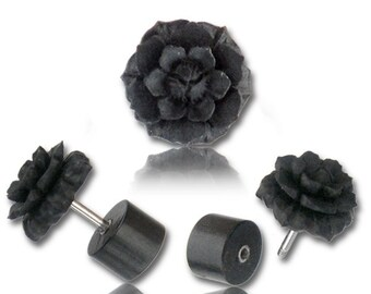 Black Wood Split Plug with carved Lotus flower, Fake gauges, Fake plugs, Faux stretcher, fake expander, Tribal Jewellery, Organic Gauges