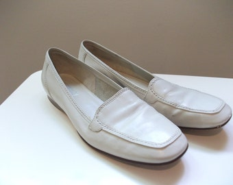 80s Nodstrom White Leather Loafers, Size 7.5