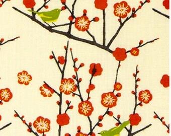 Japanese Tenugui Cotton Fabric, Ume Flower, Plum Blossom Design, Botanical Fabric, Japanese Bush Warbler, Bird, Hand Dyed Art Fabric, h212