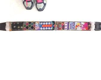 """Artsy Embellished Black Leather Guitar Strap 36"""""""