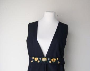 Vintage Black Wool Boho Embroidered Vest European MEdium