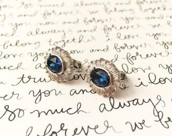 Blue Gemstone Earrings, Blue Clip On Earrings, Cornflower Blue Wedding Earrings, Something Blue Wedding Jewelry, Blue and Silver Earrings
