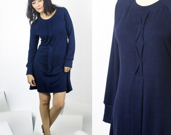 Diana Dress / Bamboo Raglan long sleeve rib dress with hand crafted detailing / Marine Navy Blue or Deep Plum