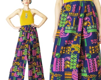 1960s Floral Palazzo Pants High Waist Psychedelic Print Pants Navy Blue Neon Paisley Pants Wrap Around Tie Waist Trousers Loose Comfy (S/M)