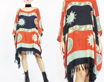 Hippie Caftan Dress Plus Size Beach Kaftan Dress Boho Batik Print Dress Slouchy Summer Sun Dress Muu Muu Ethnic Draped Fringe Dress (L/XL)