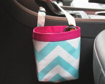 Car Cellphone CADDY, Girly Blue Chevron, Sunglass Case, Craft Bag, Golf Cart Bag, Beach Chair Caddy, Pool Chair Bag