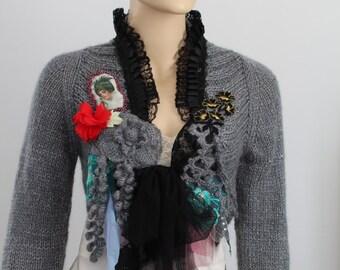 Grey Black  Shabby chic Hand Knit Crochet Shrug Bolero Sweater  Boho Gypsy Fairy Tattered Romantic Textile Collage -Wearable Art -Size M/ L