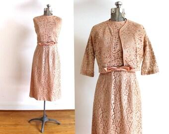 1950s Wiggle Dress / 50s Blush Pink Lace Wiggle Dress and Jacket Set