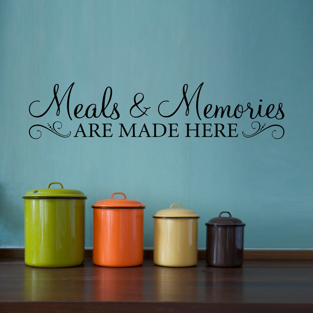 Meals memories decal kitchen quote wall decal meals and for Small kitchen wall art