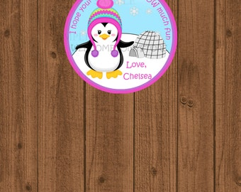 Penguin Winter ONEderland Onederland, Christmas Favor Tag, Penguin 1st Winter Birthday Favor Tag