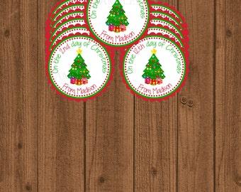 12 Days of Christmas Favor Tag, Twelve Days of Christmas Tag, Holiday Gift Tag, Secret Santa, Gift Exchange Tag