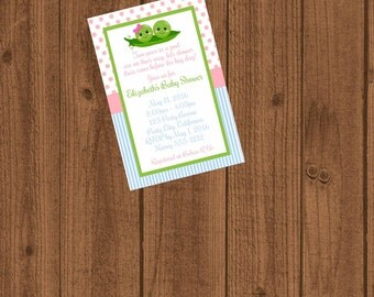 Two Peas in a Pod Baby Shower, Two Peas in a Pod Invitation, Two Peas in a Pod, Twins Baby Shower Invitation, Printable Invitation