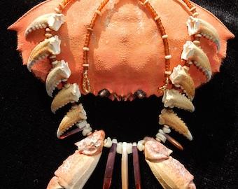 "CRABBY ATTITUDE necklace crab neckpiece deluxe 26"" (66cm) coastal upcycled crustacean Cancer survivor cosplay immunity Crabby Chris™"