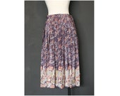 70s Pleated Silk Smokey Lavender Floral Printed Pleated Skirt