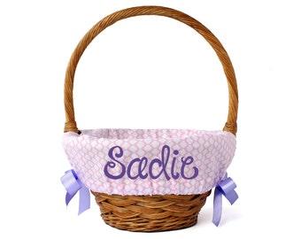 Personalized Easter Basket Liner, Pink Quatrefoil, Basket not included, Monogrammed Easter basket liner, Custom basket liner with name added