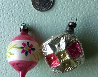 Two Vintage Glass Christmas Ornaments Painted