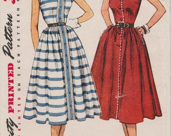 Simplicity 4356 / Vintage 50s Sewing Pattern / Dress / Size 16 Bust 34