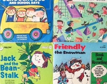 vintage see hear read childrens books & records peter pan recording story storybook songs child kids retro modern 45's school snowman