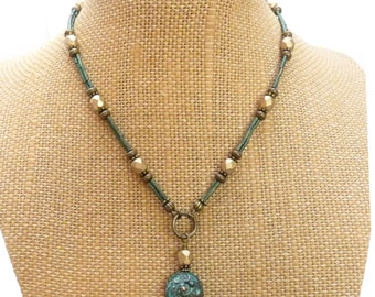 Beaded Charm Necklace - Gold and Blue Metallic Seed Bead Czech Glass Y-Necklace Lariat - Rustic Greek Metal Patina Pendant