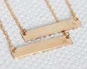 Gold Bar Necklace Initial, Personalized Initial Bar Necklace, Horizontal, Gold Filled