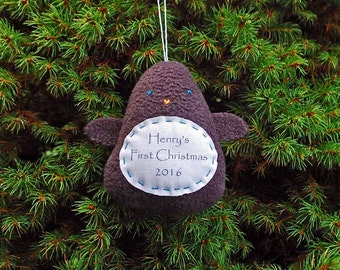 Personalized Penguin Christmas Ornament, Baby's First Christmas Personalized Ornament, Custom Ornament - Dark Gray Penguin