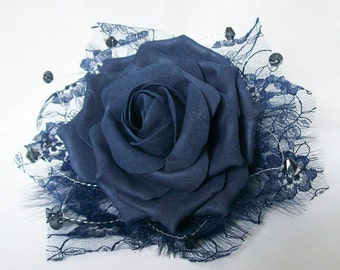 Vintage Style Navy Blue Foam Rose Lace Feather & Crystal Floral Wedding Fascinator Comb- Made to Order