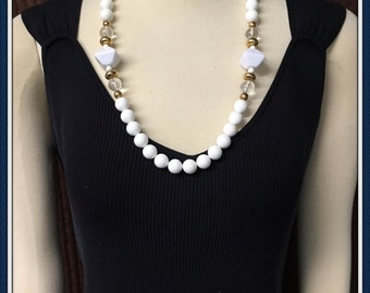 White Beaded Necklace, Bright,  Long Length, Summer, Casual, Semi Formal, Vintage 1970's