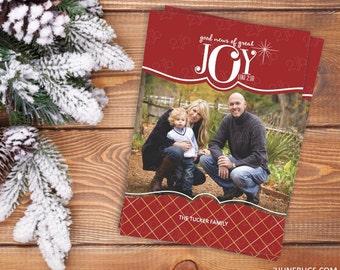 Religious Photo Christmas Card - Joy Christmas Photo Card - Printable Christmas Card - Digital Christmas Card - Gold Foil Red - Luke 2:10