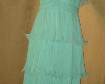 Dress Miss Elliette Mint Green Tiered Ruffled 60s 70s Vintage