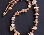 Reserved SALE Raw Mexican Fire Opal Chips Necklace Rustic Peach and White Shards with Matte Sunstone and Gold Pyrite Gemstone Jewelry