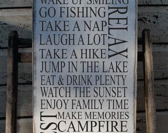 Cabin Rules sign Rustic Cabin Sign Up North Decor Typography subway sign Customize Cabin Rules